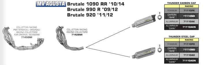 LIGNE COMPLETE ARROW MV-AGUSTA BRUTALE 920 / 990 R / 1090 RR