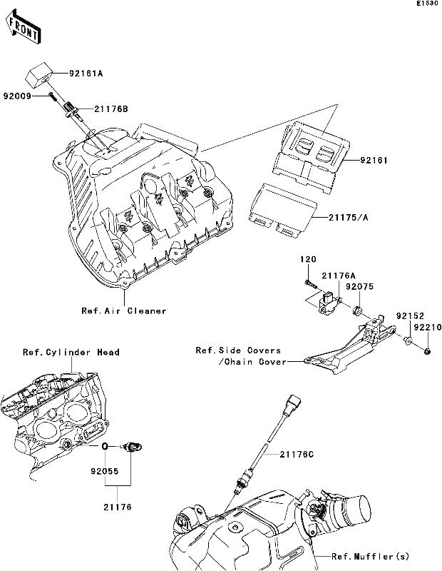 Emplacement de l'ecu dans la boite à air (ref  21175)